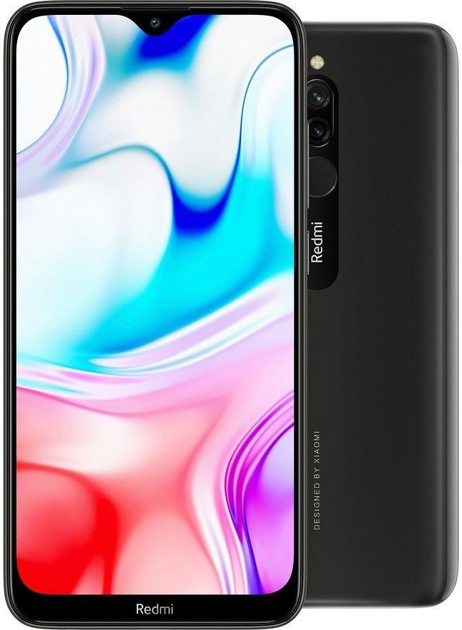 Černý levný mobilní telefon Xiaomi Redmi 8